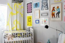 a whimsy nursery with a printed rug, colorful print curtains, a brigth gallery wall and lots of colorful elements