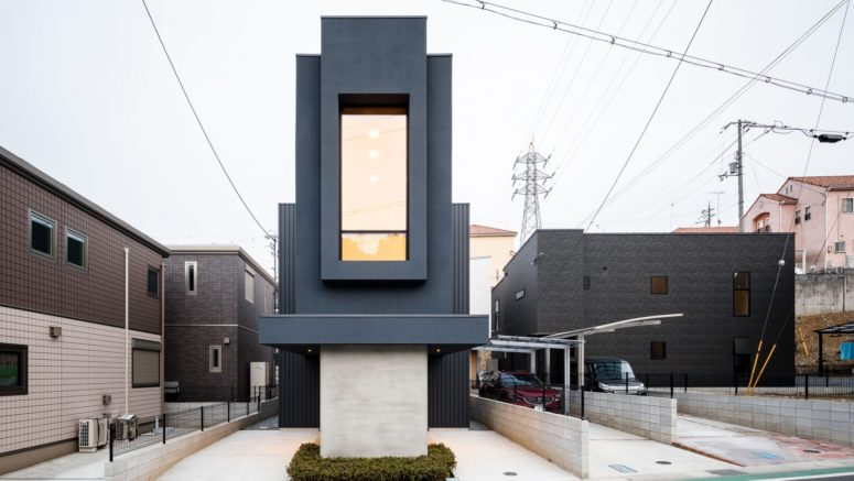 This dwelling is called Slender House and it festures a deep and narrow lot in a densely populated area