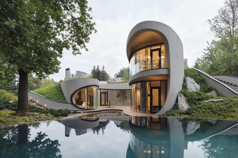 Organic Futuristic House With An Artifical Landscape