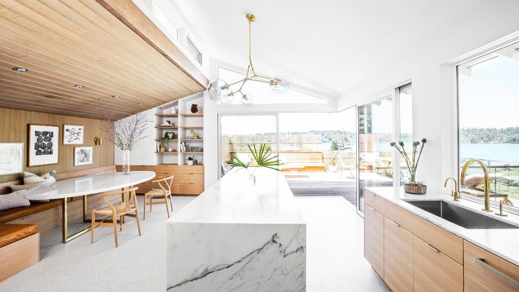a stylish kitchen dining area