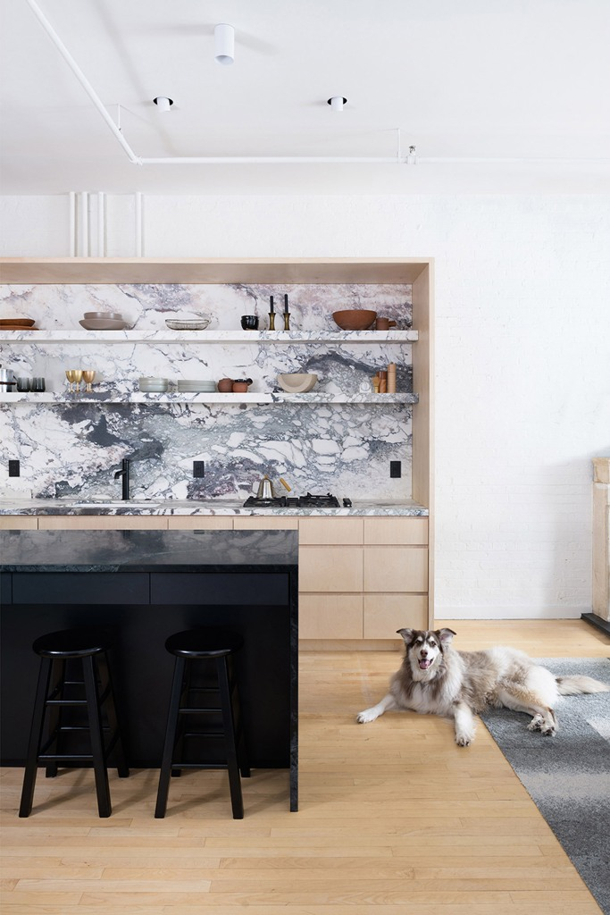 The kitchen features sleek plywood cabinets with a cool mable backsplash and open shelving