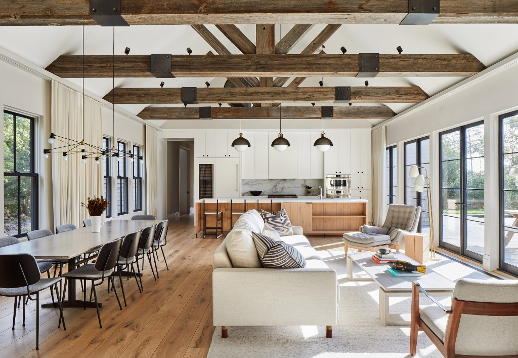 The main space is an open layout comprising a dining, living room and a kitchen