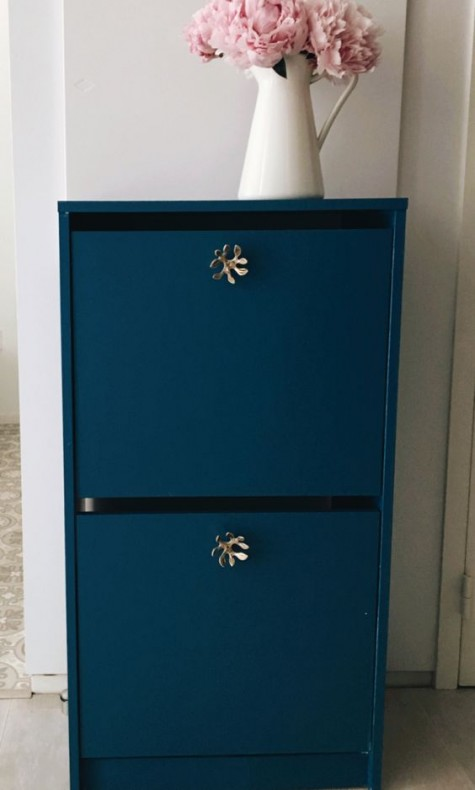 a bold blue IKEA Bissa cabinet with catchy brass knobs will add color to your space and a refined touch, too