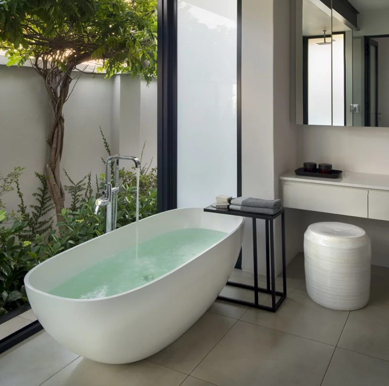 a bathroom with a view to a private courtyard