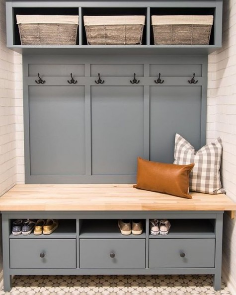 an entryway bench and storage piece with wooden boxes and drawers of IKEA Hemnes will fit a large mudroom or entryway