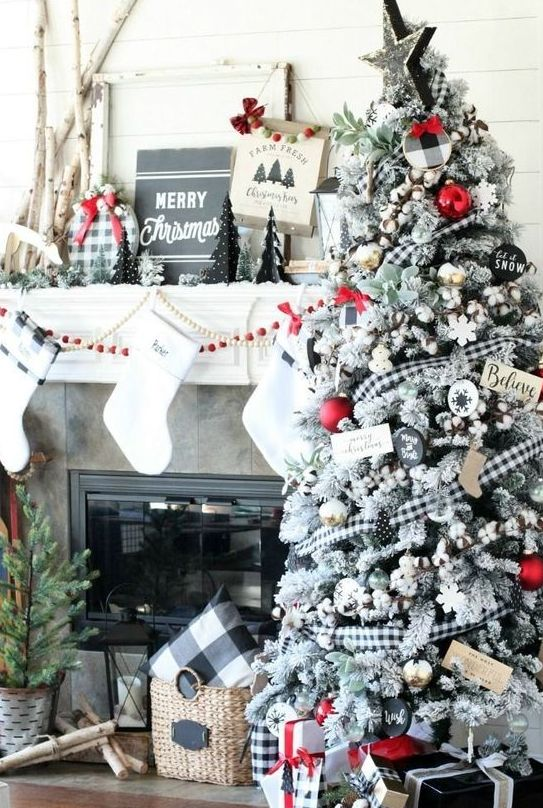 a whimsical Christmas tree with buffalo check ribbons and ornaments plus a matching pillow in a basket