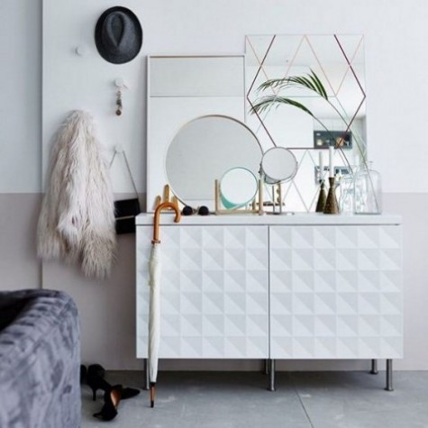 a fresh IKEA Metod hack with new sculptural wall panels, a tabletop and metal legs for a chic look