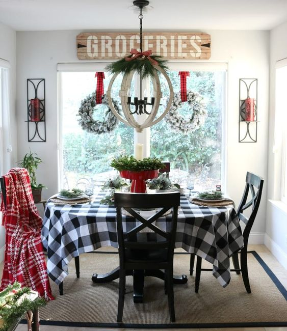 a buffalo check tablecloth is amazing to spice up your dining space and make it feel like a farmhouse one