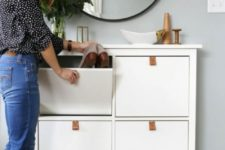 11 a chic and simple IKEA Hemnes cabinet hack with leather pulls is a cool way to spruce up a simple storage piece