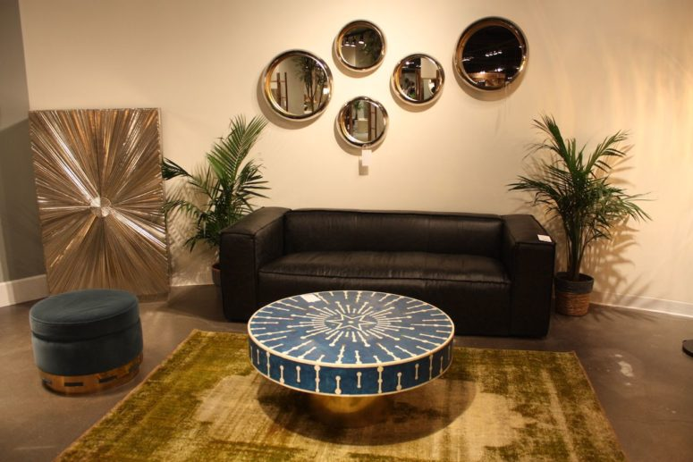a printed classic blue coffee table and a matching classic blue ottoman for a refined and chic living room