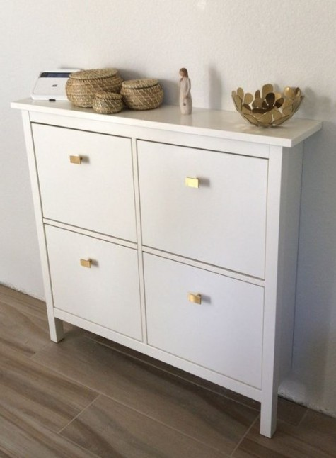 update a simple IKEA Hemnes shoe cabinet with stylish geometric pulls liek these ones for a bright modern look