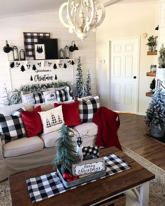 buffalo check pillows, a tablecloth, an artwork and a mix of black and white for bold Christmas decor