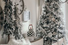 17 snowy Christmas trees decorated with striped ribbons, plaid ornaments, cups and silver ornaments