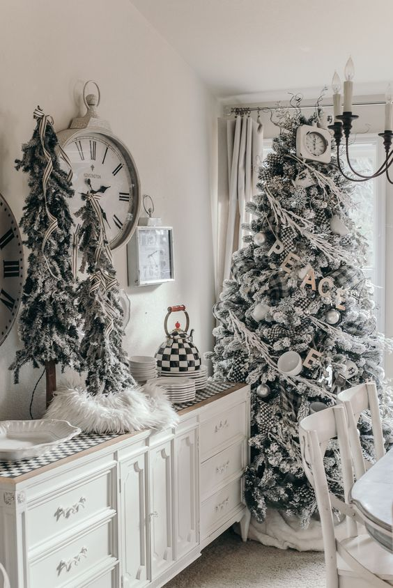 snowy Christmas trees decorated with striped ribbons, plaid ornaments, cups and silver ornaments