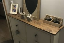18 a rich-colored countertop for your IKEA Hemnes shoe storage for a more farmhouse and rustic feel