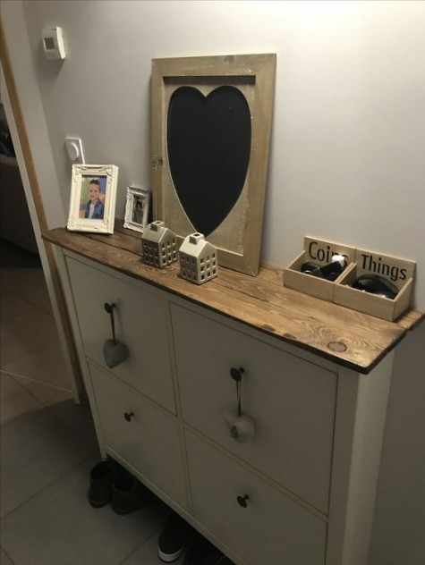 a rich-colored countertop for your IKEA Hemnes shoe storage for a more farmhouse and rustic feel