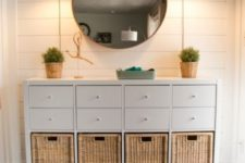 18 an elegant rustic console table of an IKEA Kallax unit and some basket drawers will rpovide you with a lot of storage space