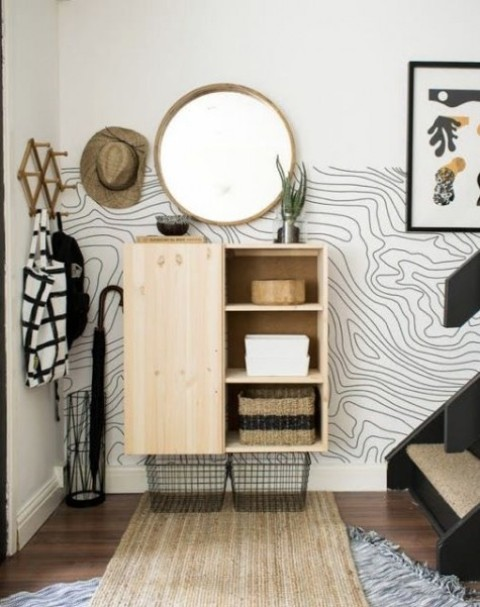 an IKEA Ivar hack into a comfy floating entryway storage piece plus wire baskets is super stylish and will fit many hallways