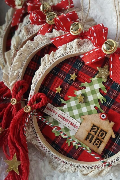 embroidery hoop Christmas ornaments with plaid, glitter stars, signs, twine, bells and wood burnt mini houses