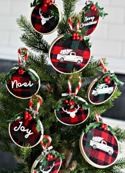 plaid Christmas ornaments with painted letters and images, berries and evergreens look pretty and modern