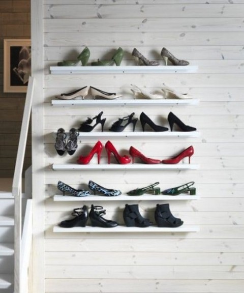 IKEA Mosslanda shelves for storing and displaying your shoes at their best in the entryway