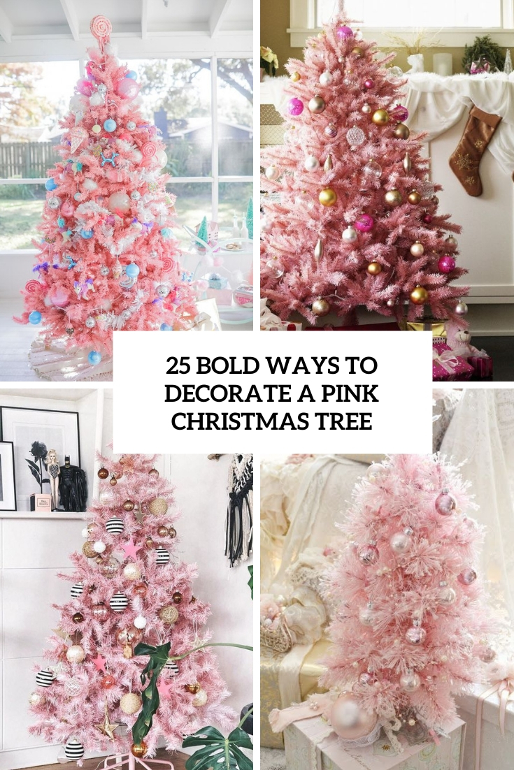 bold ways to decorate a pink christmas tree cover
