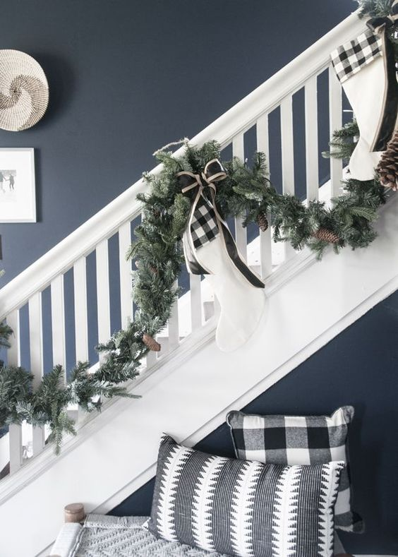 buffalo check bows and pillows make the space cozier, vintage and much more elegant with a holiday feel