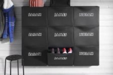 26 make a cool shoe storage piece adding stickers with kids' names to IKEA Trones