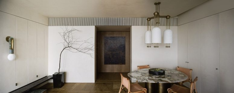 The natural color palette is a logical solution for a wabi-sabi home, and it's very welcoming