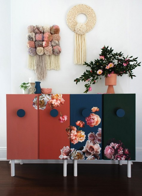a very bold Ivar hack with paints and real flower stickers will make a statement anywhere