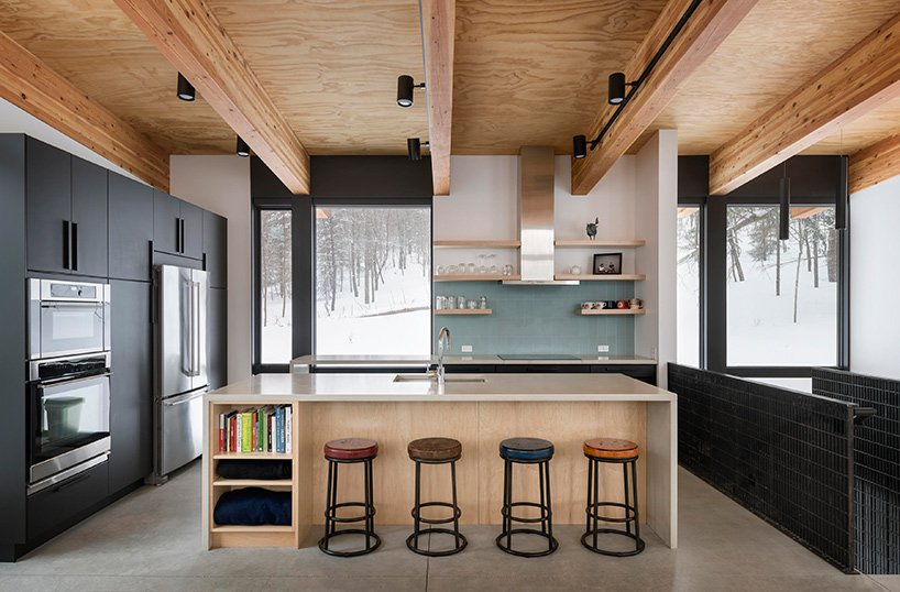 a cool kitchen island with a seating space