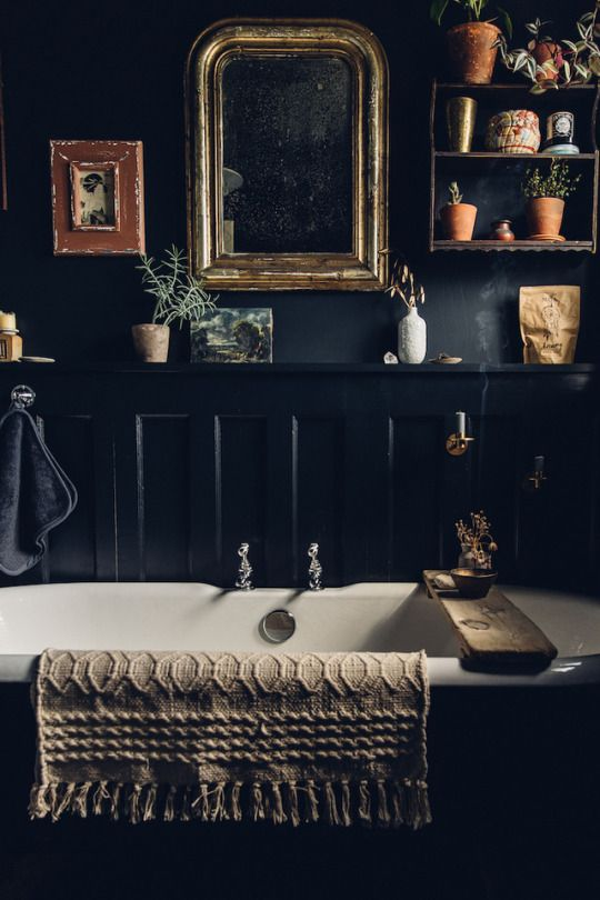a moody vintage-inspired bathroom with black walls, a dark bathtub and a shelf with lots of plants