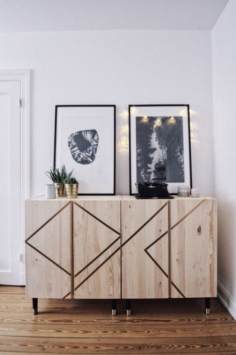 an Ivar dresser spruced up with stencils looks very creative and bold
