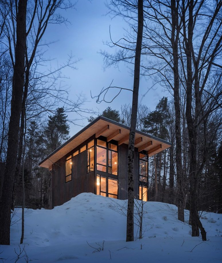 Here's how the cabin looks in the evening, all glazed and contemporary and very natural at the same time