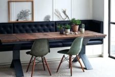 07 a dining space with a built-in leather bench with storage, which is a gorgeous and smart solution