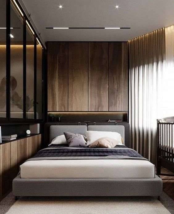 achieve a luxurious feel in your bedroom with a chic color palette and gorgeous materials like natural wood and glass