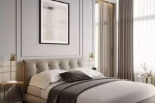 08 bring a touch of luxury with an uphosltered bed, a chic chandelier in gold and crystal and stylish lamps