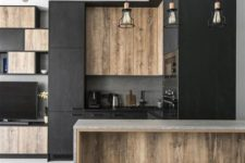 08 change industrial stools and lamps and voila – you have a cozier kitchen that invites in