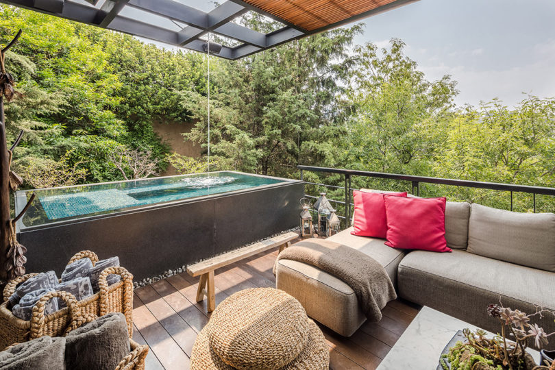 The main living area extends to the terrace with a jacuzzi and a tree view, which is veyr relaxing and very welcoming