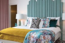 10 a statement light blue upholstered headboard made of planks is a stylish idea for a bright bedroom