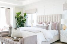 11 a neutral bed with a large tufted headboard is right what you need to make your bedroom cooler and more refined