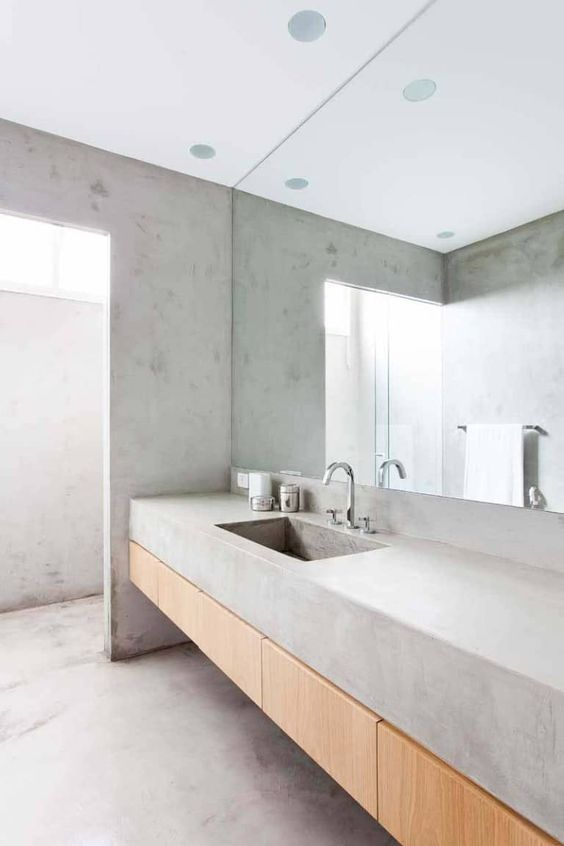 a concrete bathroom with all surfaces concrete is a trendy and simple idea for a modern space