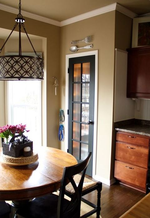 such a dark door with glass stands out in a neutral space and looks really cool