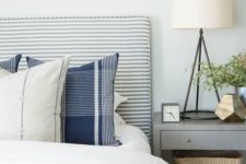 13 a cool striped grey and white upholstered headboard is a nice fit for many bedrooms including this rustic one
