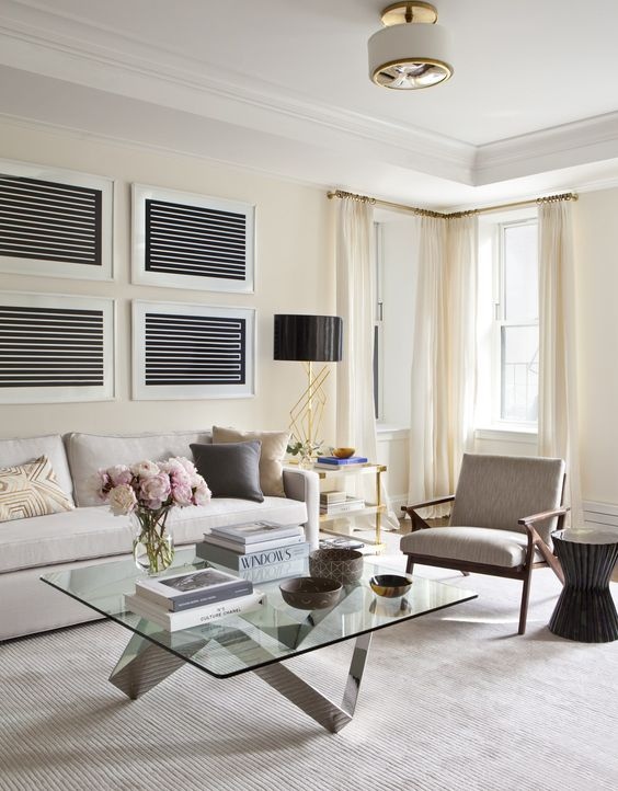 light-colored curtains under the ceiling molding is right what you need for a larger look