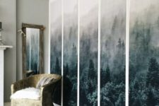 14 an IKEA Pax wardrobe renovated with fabric panels for a stylish nature-inspired look