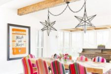 a cozy yet colorful dining room design