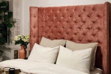 16 a statement coral pink tufted headboard is a great idea to add a girlish touch of color and make your bedroom chic