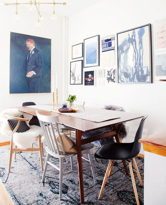mix and match all the chairs in the dining room to make it look more relaxed and cool