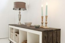 18 an IKEA Expedit shelf covered with weathered wood and put on casters looks wow